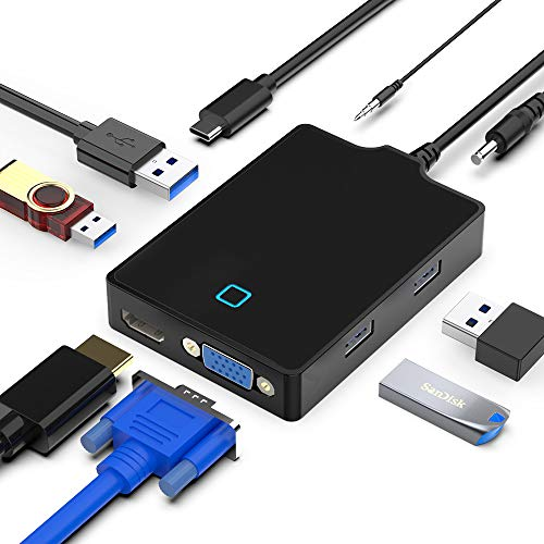 USB C Hub Multiport Adapter, 8-in-1 Portable Docking Station with Type C to 4K HDMI/ 1080P VGA, 4-Ports USB 3.0, Audio Interface, External Power Plug, Compatible with Laptop/Phone/pad