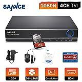 SANNCE TVI DVR 1080P Lite 4 Canali 1080N Videoregistratore Network Digital Video Recorder H.264 HDMI Allarme ONVIF Manuale Italiano con Telecamera IP/AHD/TVI/CVI/Analogica 1TB HDD