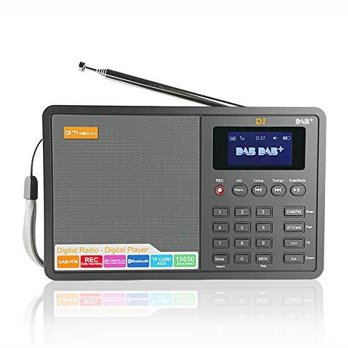 GT MEDIA D1 Tragbares DAB+ Radio Wiederaufladbar Radio (FM, Rec, RDS, Bluetooth, TF-Karte, Kopfhöreranschluss, AUX-IN, Wiederaufladbare Batterie 18650, Wecker) 1,8-Zoll-LED-Schwarzweiß-Display