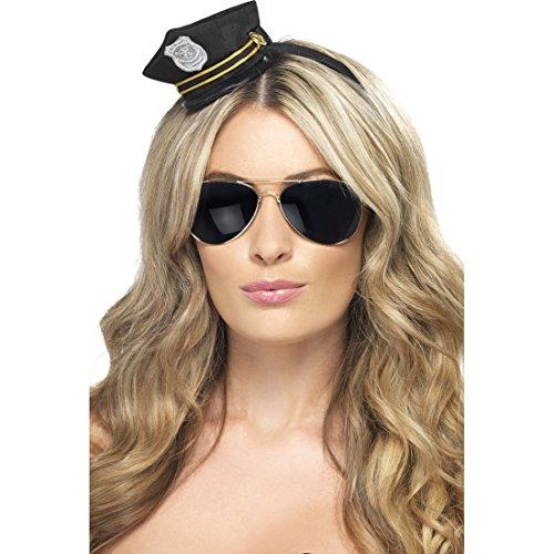 NET TOYS Polizistin Minihut Damen Polizeimütze Polizei Mütze Mini Hut JGA Polizeihut Cop Kopfbedeckung
