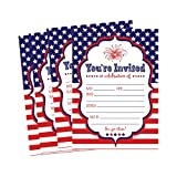 50 Patriotic Summer BBQ Party Invitations for Children, Kids, Teens Adults Fourth Barbecue Cards, Red White and Blue 4th of July Military Graduation Pool Family Reunion Invite, Picnic Cookout Invites