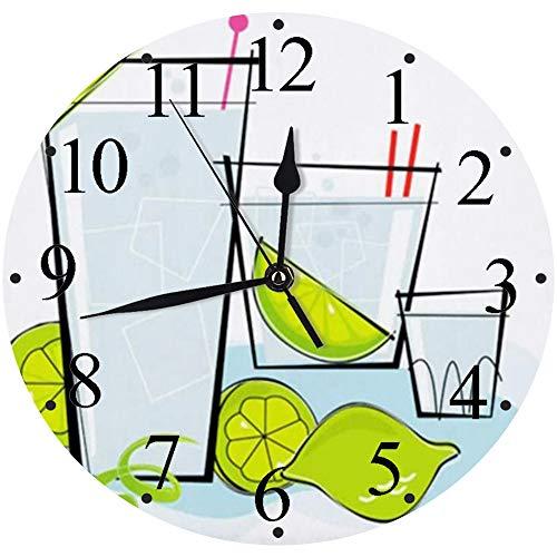 Silencioso Wall Clock Decoración de hogar de Reloj de Redondo,Blue Tonic Cocktail Spot Retrostylized Vodka Gin Food Drink Retro 1950S Ice Lime Styled Kitsch Loun,para Hogar, Sala de Estar, el Aula