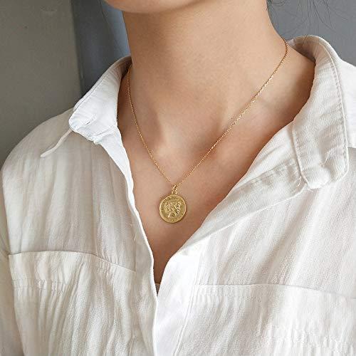 Collares colgantes de monedas de retrato de color dorado plata esterlina 925 cadena de disco redondo gargantas collar minimalista para mujeres