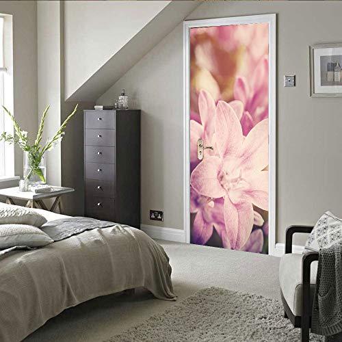 IDWX Etiqueta engomada de la Puerta 3D extraíble, Vinilo Decorativo Flor Rosa, Se Puede Utilizar para la decoración de Puertas de dormitorios y Salas de Estar 77 * 200 cm.