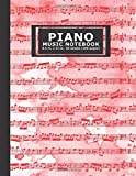 Piano Music Notebook: Large Blank Music Sheet (12 Staffs) for Learning How to Play Piano or Songwriting - Hot-Red Christmas-Choral