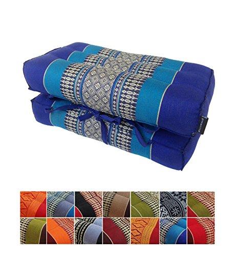 Collumino® Coussin de méditation traditionnel thaï en kapok avec poignée de transport, ., Bleu clair, bleu foncé.