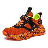 Wishliker Jungen Turnschuhe Leicht Atmungsaktiv Sportschuhe Laufschuhe Low-Top Sneaker,36 EU, Schwarz Orange