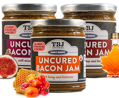TBJ Gourmet Boar's Reserve Bacon Jam Gift Set - Original Recipe Bacon Spread - Uses Real Bacon, No Preservatives - Maple Bourbon, Honey Habanero, Balsamic Fig - 9 Ounces Each, Pack of 3