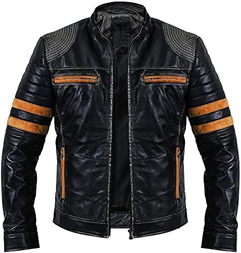 Flair & Bold Chaqueta de cuero con rayas naranjas Cafe Racer   Chaqueta de cuero negro retro   Chaqueta de cuero genuino