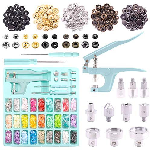 Keadic Snap Fasteners Kit with Pliers, 31 Colors 408Sets T5 Plastic Metal Buttons, Snaps and Snap Pliers Set for Sewing and Crafting, DIY Projects, Includes Storage Box