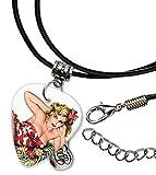 50s Pin Up Girl Flower In Hair Pick de guitarra collar de cordón de cuero (GD)...