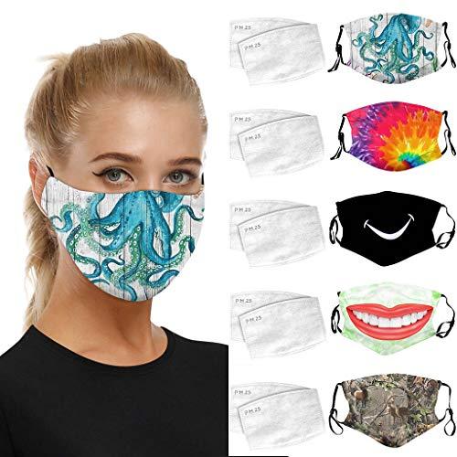 Sannysis 5 Stück Mundschutz 3D Druck Bandana Waschbar Wiederverwendbar Stoffmaske Baumwolle Mund-Nasen Bedeckung Verstellbar Atmungsaktiv Halstuch Schals für Herren Damen (A)