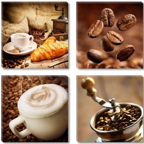 Visario Leinwandbilder 6603 Bild auf Leinwand Coffee 4 x 30 x 30 cm, 4 Teile
