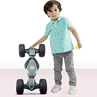 Kikioo 1:10 High-speed Four-wheel Drive All Terrain Off-road Turn Over Stunt Vehicle Climber Truck 3-10 Years Old Remote Control Twisted Car Charging Climbing Drift Children Toy Car Boy (Color : Blue)