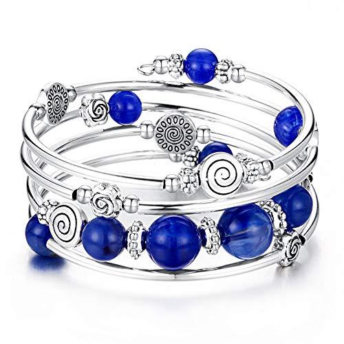 BULINLIN Bead Wrap Bangle Pearl Bracelet - Silver Metal Bracelet Gifts for Women (07-Blue)