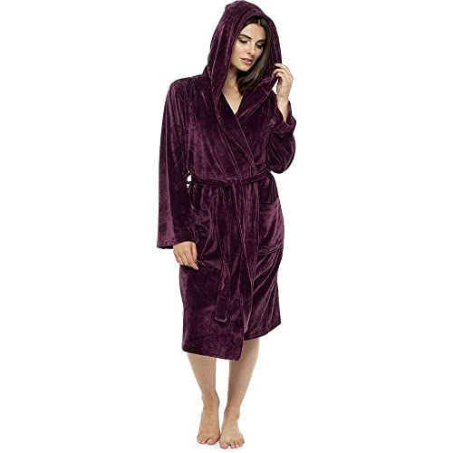 Style It Up Ladies Luxurious Soft Dressing Gown Hooded Plain Fluffy Snuggle  Fleece Warm Robe 67c1b4505