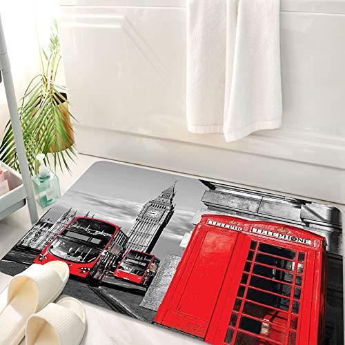 Alfombra de baño, Alfombra Absorbente Antideslizante, Londres, Londres cabina telefónica en la calle tradicional icono cultural loc, Alfombra de baño de Microfibra esponjosa, avable a máquina 50x80 cm