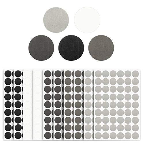 540 Stück selbstklebende Schraubenlochabdeckungen Aufkleber, 21 mm, strukturierte PVC-Schraubenkopfabdeckungen, Aufkleber für Holzmöbel, Schränke, Regale (10 Blatt, 5 Farben)