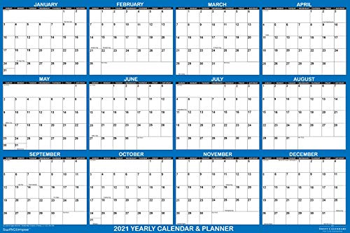 SwiftGlimpse(スイフトグリンプス) 2021 壁掛けカレンダー 消せる 大型 ウェット&ドライイレース ラミネート加工 12ヶ月 年間 壁プランナー リバーシブル 縦/横 ネイビー(英語版/アメリカの祝日入り)