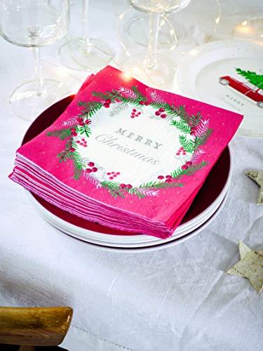 Talking Tables Accessoires de Fête Table Couronne Serviette Papier Noël Décoration   Rouge, Lot de 20, Multicolor, 33 cm