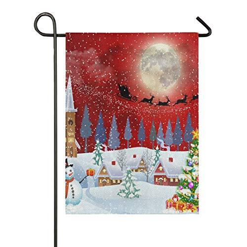 ALARGE Drapeau de Jardin avec Inscription « Merry Christmas Tree Bonhomme de Neige » Double Face pour fête, Vacances, Cour, décoration de la Maison, 30,5 x 45,7 cm, Multicolore, 12x18 inches