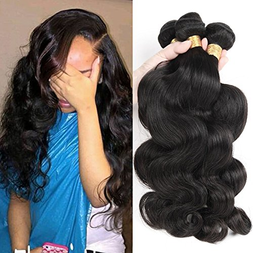 Luxnovolex Brazilian Hair Body Wave Brazilian Virgin Hair 3 Bundles Deals 7A Grade 100% Unprocessed Human Hair Weave Bundles Sew in hair extensions Natural Black Can Be Dyed and Restyle (14 14 14)