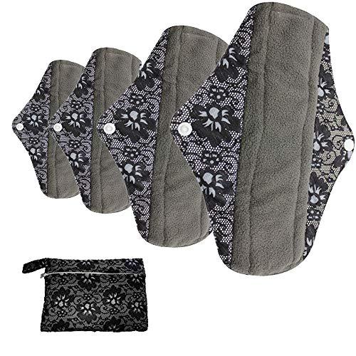 AIYoo - Juego de 4 almohadillas menstruales reutilizables de bambú para mujer, toallas sanitarias diarias durante la noche con bolsa húmeda, 4 tamaños
