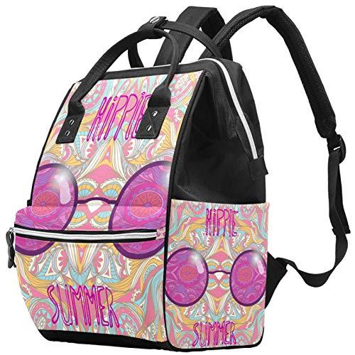 Mochila de viaje escolar con diseño de gafas de sol, multifunción, bolsa de pañales con correa ajustable para hombres, mujeres, niñas y niños