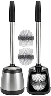 Polder Stainless Steel Toilet Brush Caddy Black 2 Pack + 2 Replacement Brush Heads