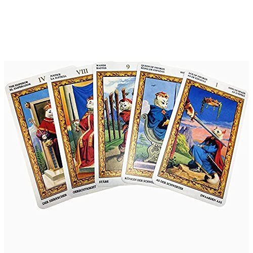 Tarotkarten Tarot-Karten-Deck 78pcs weiße Katzenbrett-Spiel-Giotization Zukünftige Schicksalvorhersage Mysteriöse Astrologie-Tarot-Karten-Set, für Anfänger oder Erfahrene, Farbbox
