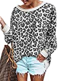 ECOWISH Women's Casual Leopard Print Pullover Long Sleeve Sweatshirts Top Blouse Gray L
