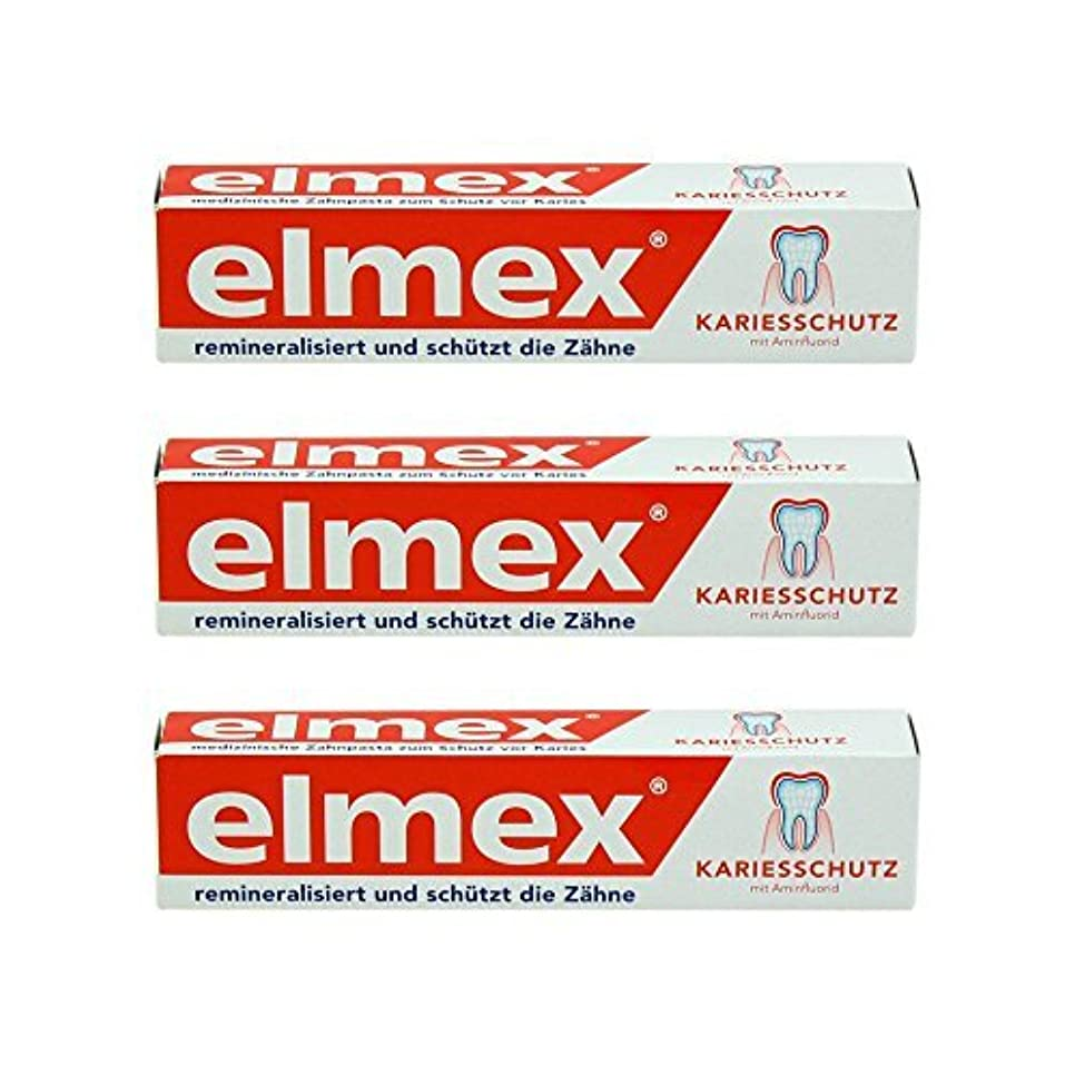 スリップシューズしないでくださいオーバーヘッドELMEX Caries Protection Toothpaste with Amine Fluoride 3 x 75ml by Elemx