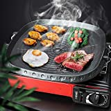 Griddle Pan, Korean-style Square Grill Pan Cast Iron Square Frying Pan with Maifan Stone Coated Surface Non-stick Smokeless Stovetop Plate for Indoor Outdoor BBQ