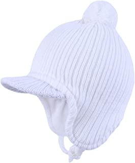 Aablexema Toddler Beanie with Visor - Baby Winter Warm Fleece Hat with Ear Flaps
