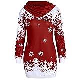 Sweat-Shirt Femme Long Mode Joyeux Noël Flocon De Neige Imprimé Hauts Col Bénitier Sweat Blouse Manches Longues Col éCharpe Sweat-Shirts Pull Chic Hiver Pullover Grande Taille