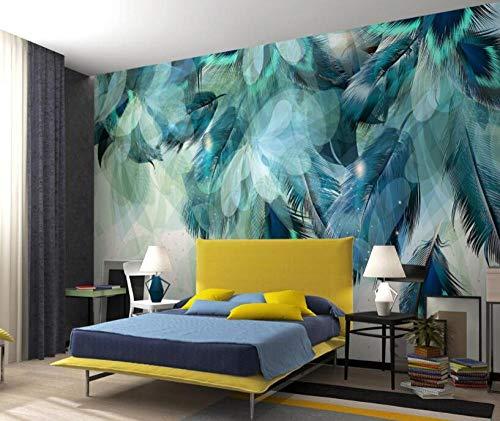 Murando Carta da parati Fotomurali Piuma di pavone blu Murale alla moda Decorazione da Muro Poster Gigante Design Carta per pareti 400x280 cm