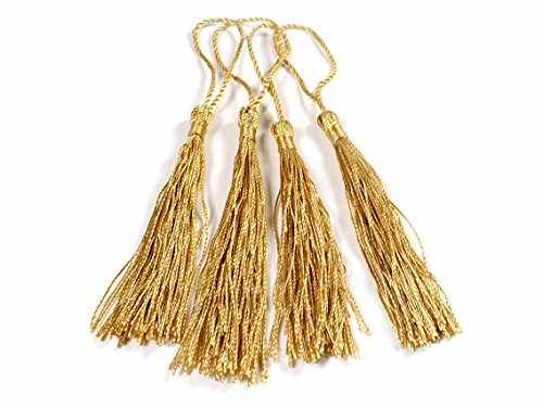 Quasten aus Perlgarn in gold 4 Stück von Vintageschmuck DIY-Schmuck