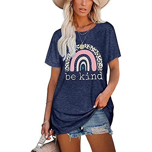 Mayntop Camiseta para mujer de verano con estampado de arco iris, estampado de leopardo, manga corta, blusa suelta con cuello en O, D-azul marino, 46