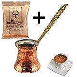 Jarra turca de cobre para cafetera con mango de metal, tamaño extrapequeño, con 100 g de café turco