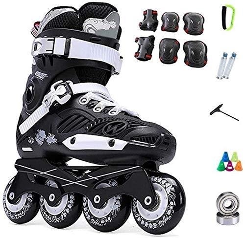 Patines en línea Adultos Niños al Aire Libre Fitness Negro Roller Patines cómodos y Transpirables Zapatos de Rodillo para al Aire Libre Interior Zapatos Patines (Color : Black-d, Size : 37EU)