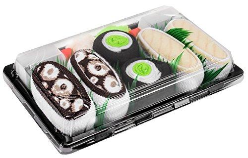 Rainbow Socks - Damen Herren - Sushi Socken Butterfisch Maki Tintenfisch - Lustige Geschenk - 3 Paar - Größen 41-46