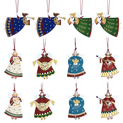 Tinksky Christmas Tree Ornament Hanging Angel Pendants Ornaments Christmas Party Decorations Crafts for Home [12 Pack]