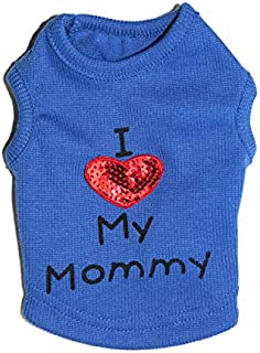 Petall Dog Shirts I Love My Mom/Mommy Dad/Daddy Clothes Doggy Slogan Costume Cute Heart Vest Small Dogs Puppy T-Shirt