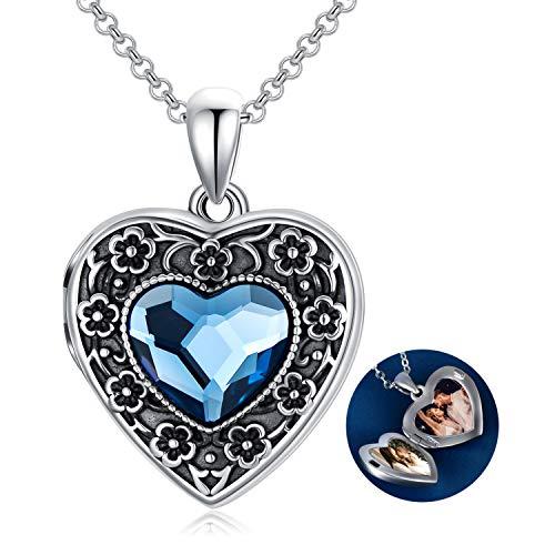 Medaillon Kette Sterling Silber 925 Damen Liebesherz Blume Halskette, Amulett Medaillon zum öffnen für Bilder Foto mit Kristallen, Geschenke für Freundin Frau Mutter