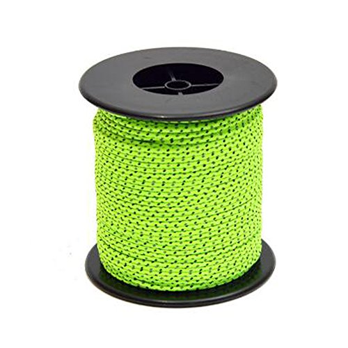 SunBeter Reflective Cord Guy Line Tent Guide Rope Nylon Cord for Outdoor Camping And Hiking Fluorescent Green-50M(2.5mm)