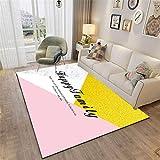 Tapis pour Chambre Rose Salon Tapis Rose Jaune Jaune Motif Géométrique Soft Tapis Durable Deco Chambre ado 80x160cm Decoration Chambre ado Fille Pas Cher 2ft 7.5''X5ft 3''