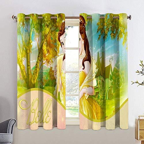 Cortinas opacas para dormitorio Beauty and The Beast con aislamiento térmico y oscurecimiento para adolescentes, panel de cortina con ojales de eficiencia energética de 42 x 72 cm