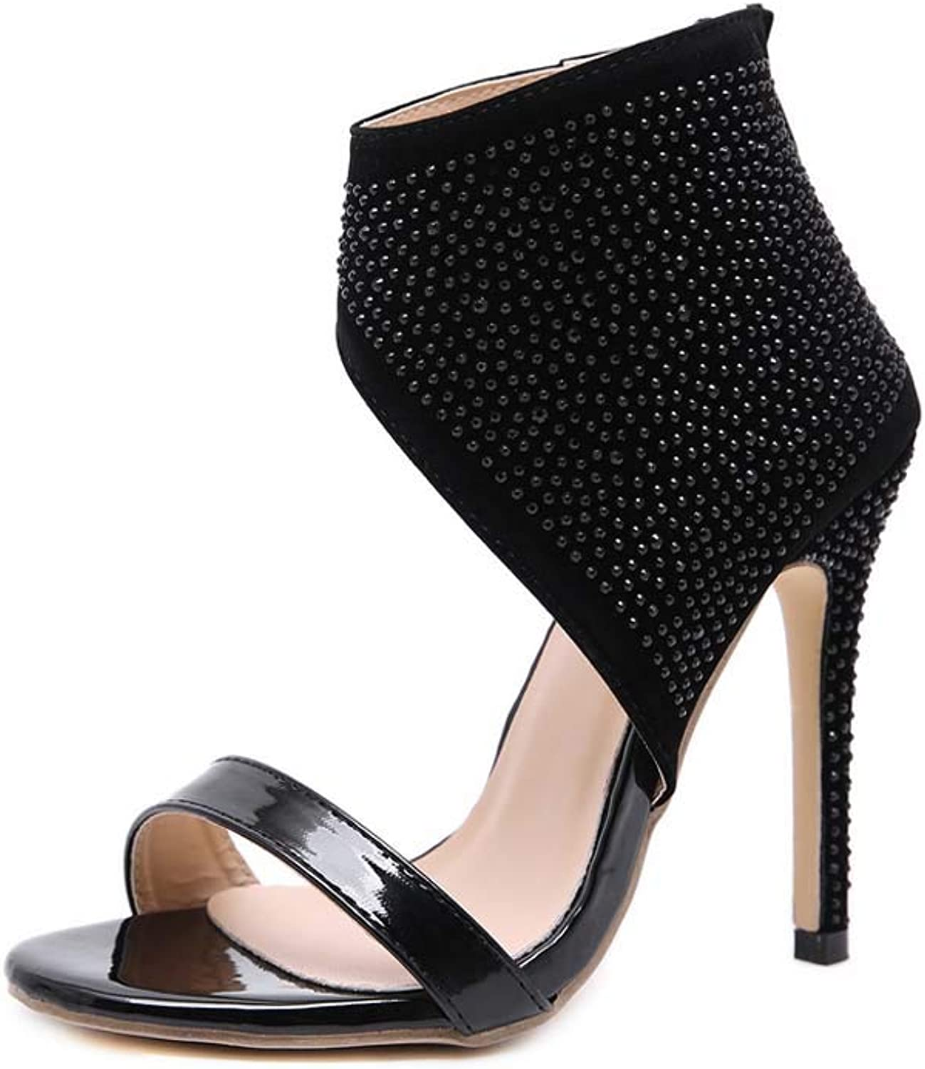 Women Lace Up Sandals,Block Mid Heel Ankle Tie Wrap Lace Up Strappy Open Toe shoes