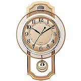 GJBHD Carillones De Westminster Reloj De Péndulo, Reloj De Pared Silencioso con Hacer Pivotar Péndulo Cuatro Pilas AA Inicio Reloj Decorativo-Oro 16 Inch (40.5 Cm)