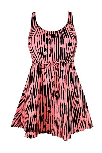 JINXUEER Women's Plus Size Swimsuit One Piece Floral Print Swimwear Tummy Control Swimdress with Flared Skirt (26, Pink)